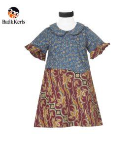 dress anak batik keris motif parang pradapa kombinasi ceplik semi