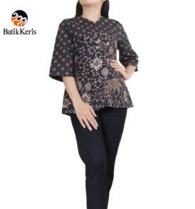 blouse 3/4 motif bunga bakung kombinas truntum
