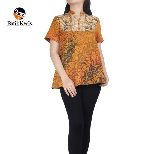 blouse lengan pendek motif batik gradasi pelangi