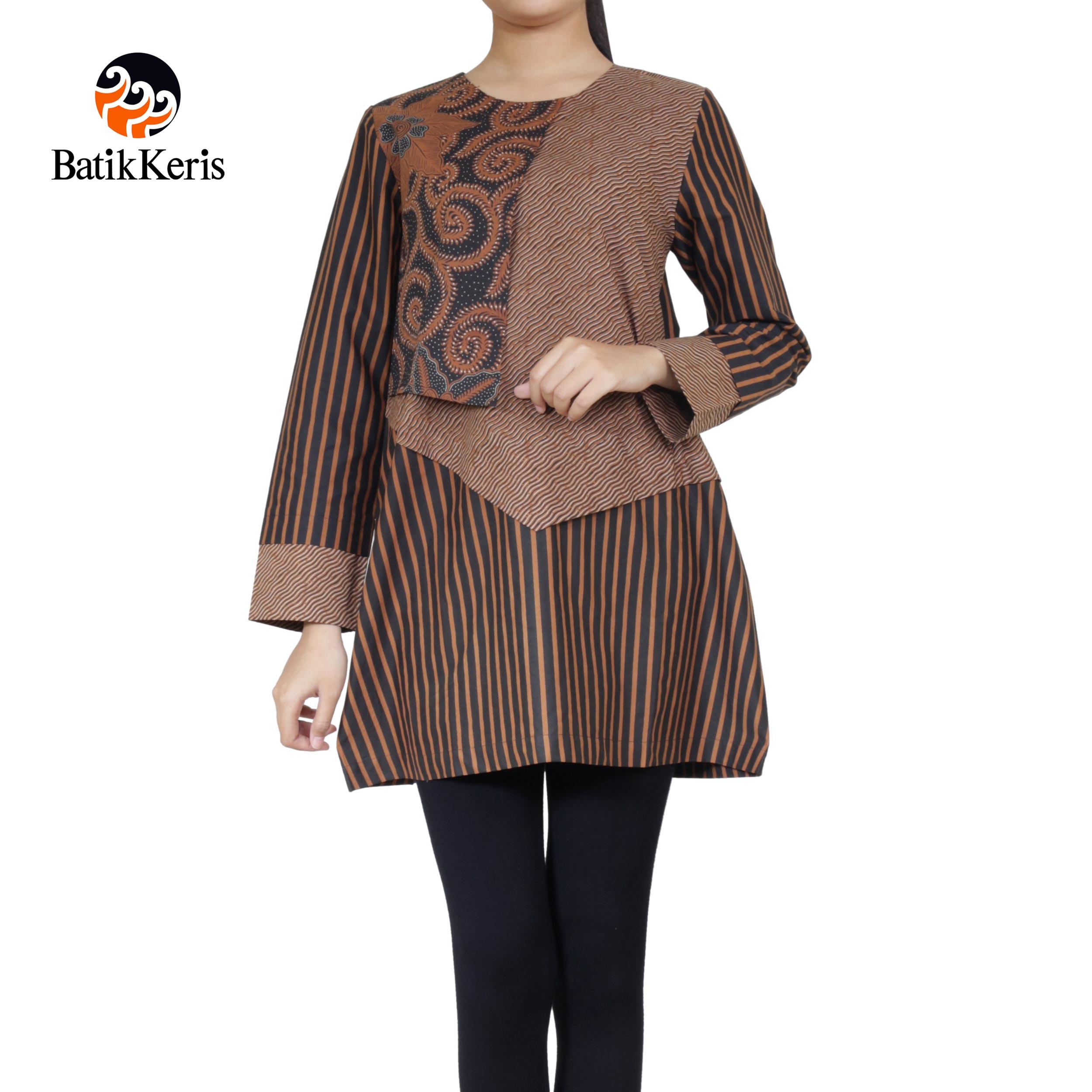 blouse lengan panjang motif tradisional mix