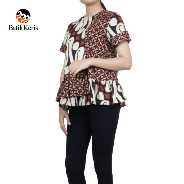 blouse lengan pendek motif parang barong komb kawung mustika