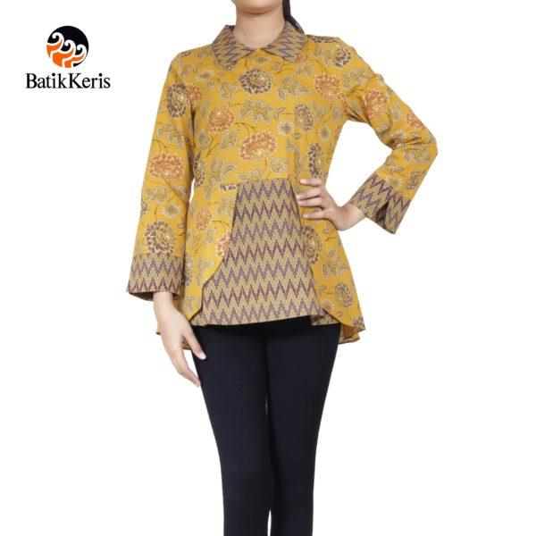 blouse lengan panjang motif bunga dahlia kombinasi tirtotejo