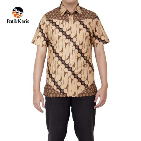 kemeja slimfit lengan pendek batik keris motif parang seno kombinasi purno aji