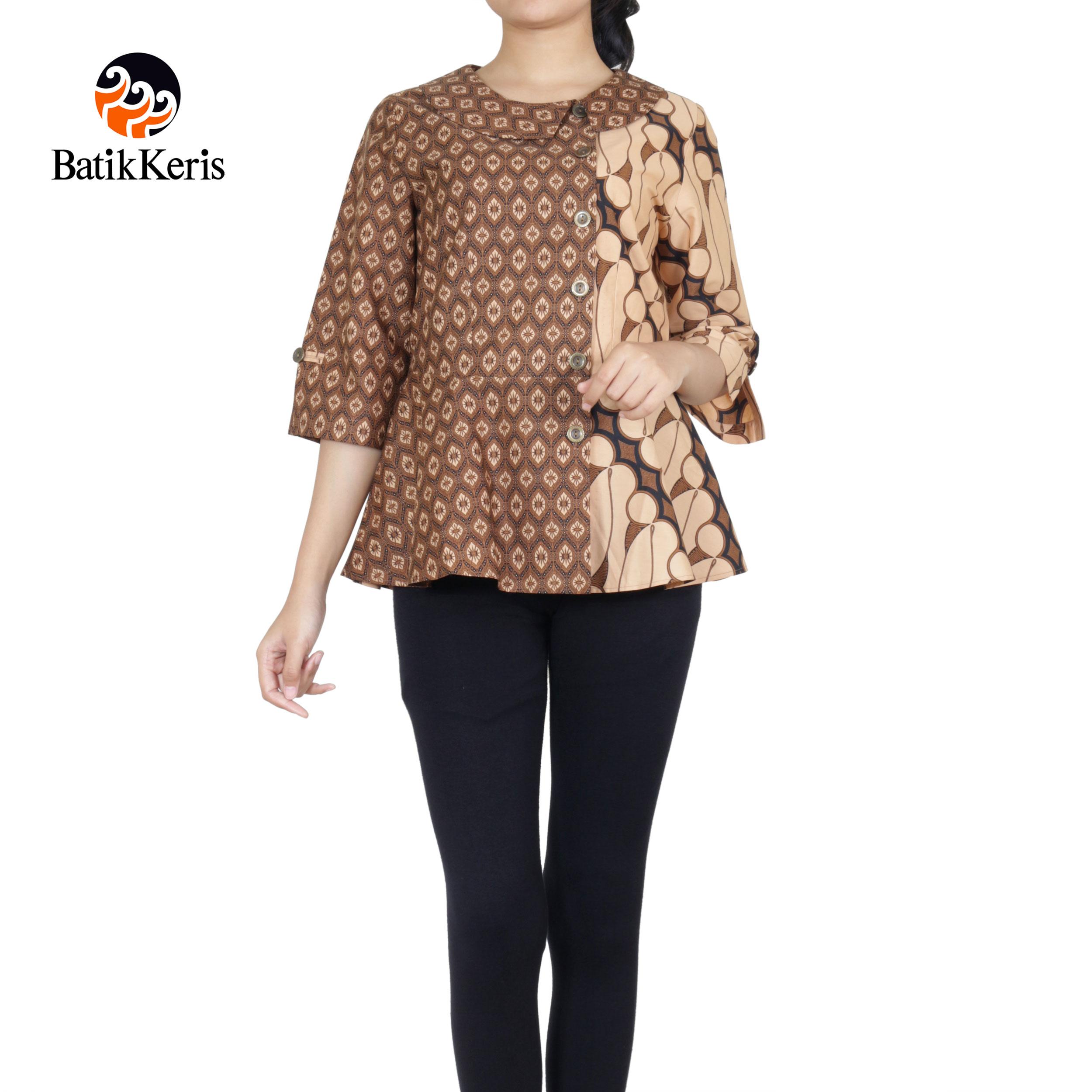 blouse lengan 3/4 batik keris motif parang seno kombinasi purno aji
