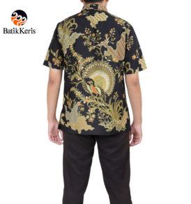 kemeja formal lengan pendek batik keris motif merak damar asri