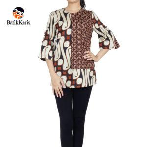 blouse lengan 3/4 batik keris motif parang barong komb kawung mustika