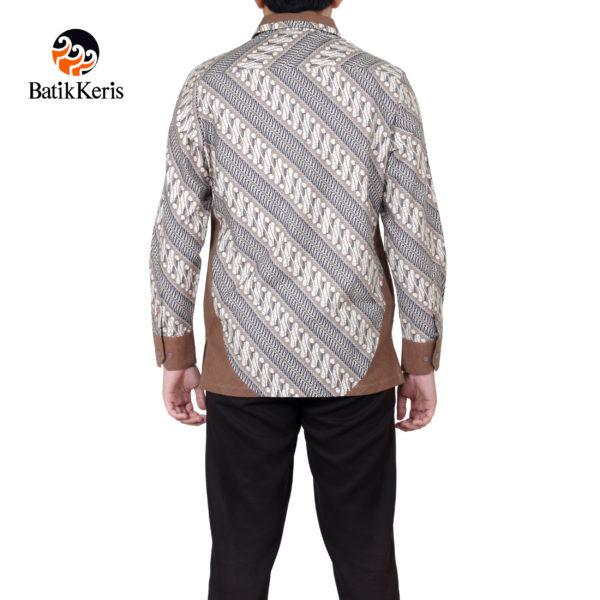 kemeja batik keris lengan panjang motif parang aji santoso kombinasi tenun lurik