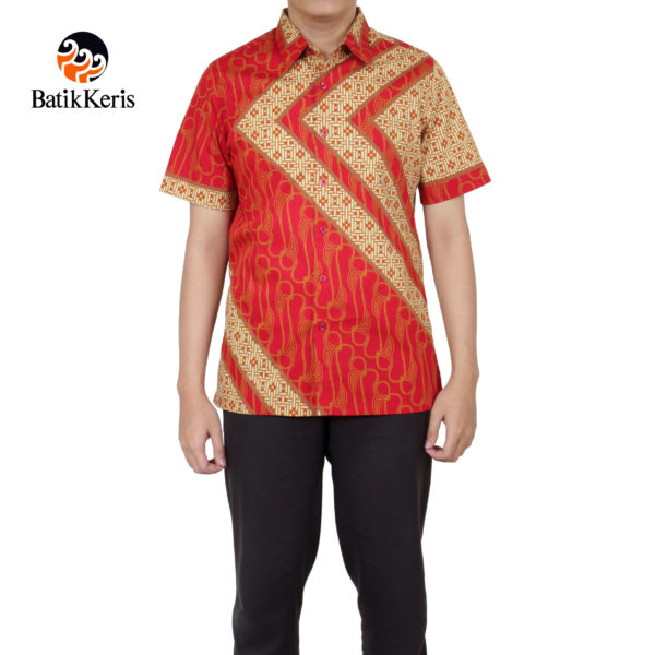 kemeja batik keris slimfit lengan pendek motif prasaja