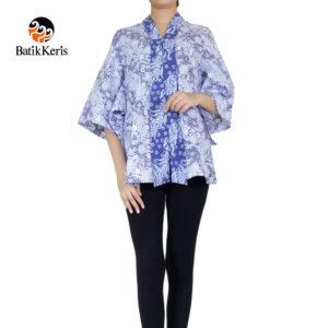 blouse batik keris motif sekar ceplok kombinasi mega mendung