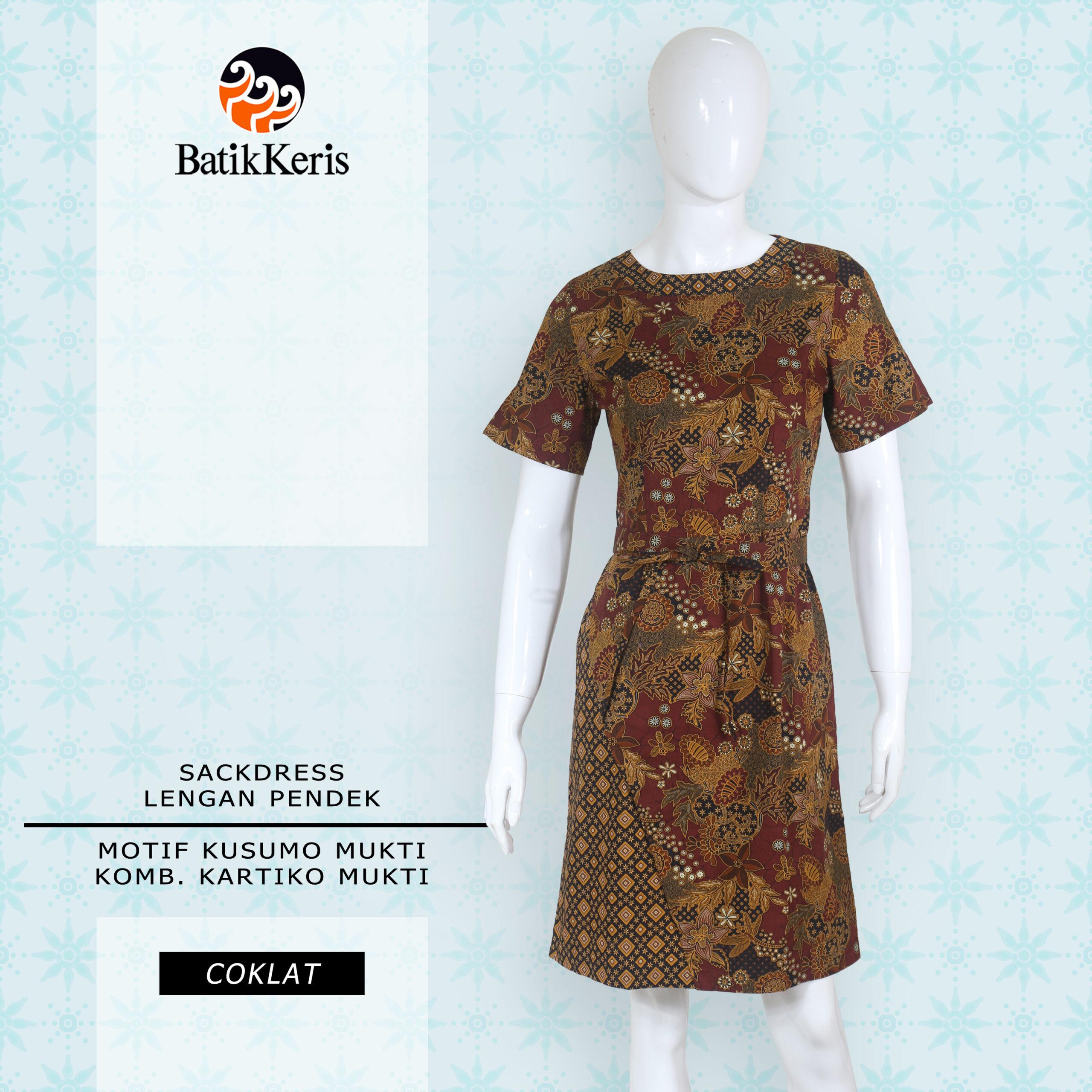 Kusumo Mukti DRESS Coklat Pendek DEPAN_2